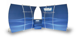 New custom exhibit designs, low cost lightweight portable Pop Up displays, banner stands with pull up graphics, tension fabric hanging signs.