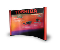 TradeShowDisplaysInLosAngles has new custom exhibit designs, low cost lightweight portable Pop Up displays, banner stands with pull up graphics, tension fabric hanging signs.